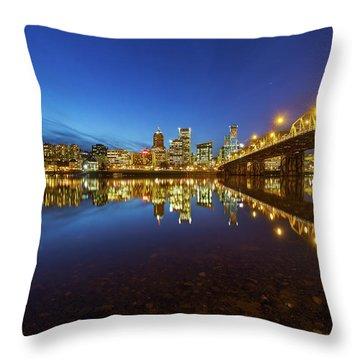 Portland Downtown Blue Hour Throw Pillow