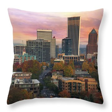Portland Downtown Cityscape During Sunrise In Fall Throw Pillow
