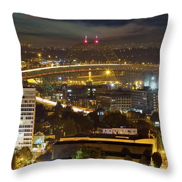 Portland Fremont Bridge Light Trails At Night Throw Pillow