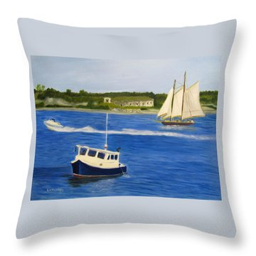 Throw Pillow featuring the painting Portland Harbor by Linda Feinberg