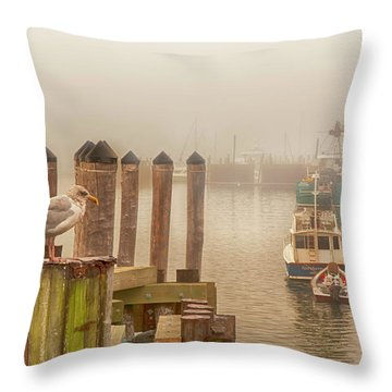 Portland Harbor Morning Throw Pillow