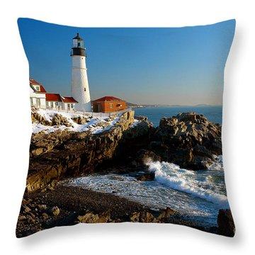 Portland Head Light - Lighthouse Seascape Landscape Rocky Coast Maine Throw Pillow by Jon Holiday