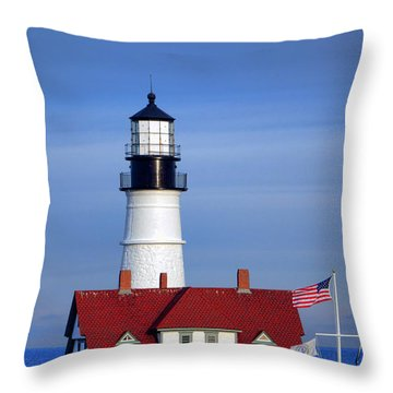 Portland Head Light And Keeper House Throw Pillow