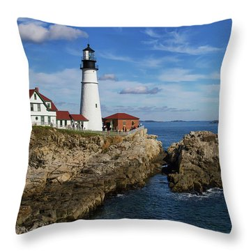 Throw Pillow featuring the photograph Portland Head Light by Arthur Dodd