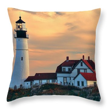 Portland Head Light-cape Elizabeth, Maine Throw Pillow