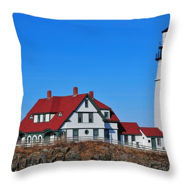 Portland Head Light Throw Pillow by Catherine Reusch Daley