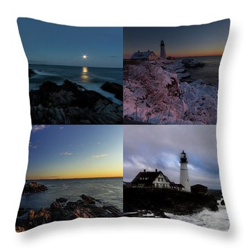 Portland Head Light Day Or Night Throw Pillow
