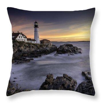 Portland Head Light Throw Pillow by Fred LeBlanc