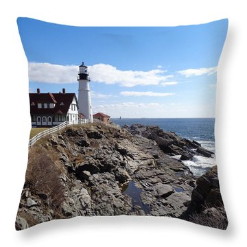 Portland Head Light Throw Pillow