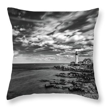 Portland Head Light In Black And White Throw Pillow