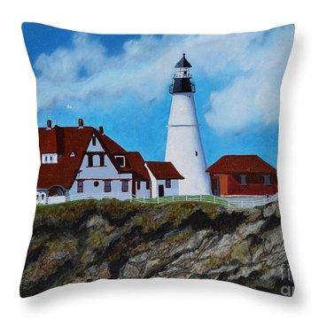 Portland Head Light In Maine Viewed From The South Throw Pillow