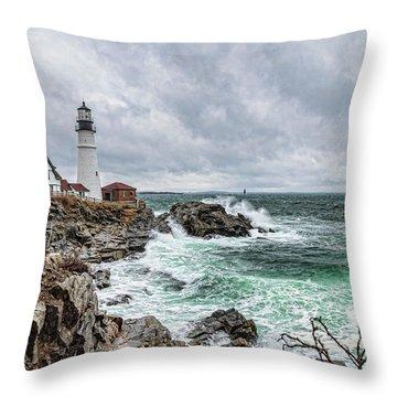 Portland Head Light Nor'easter Throw Pillow