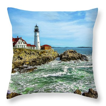 Portland Head Light - Oldest Lighthouse In Maine Throw Pillow