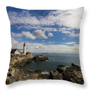 Throw Pillow featuring the photograph Portland Head Light Seascape by Kirkodd Photography Of New England