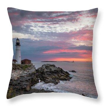 Portland Head Light Sunrise Throw Pillow