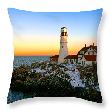 Throw Pillow featuring the photograph Portland Head Light Winter Sunset by Olivier Le Queinec
