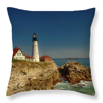 Portland Head Lighthouse 2 Throw Pillow by Sherman Perry