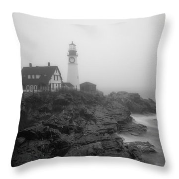 Portland Head Lighthouse In Fog Black And White Throw Pillow