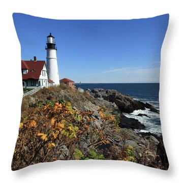 Portland Head Lighthouse In The Fall Throw Pillow