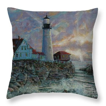 Portland Head Lighthouse Throw Pillow by LeRoy Jesfield