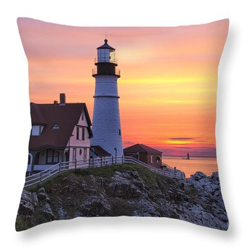 Portland Head Lighthouse Sunrise Throw Pillow
