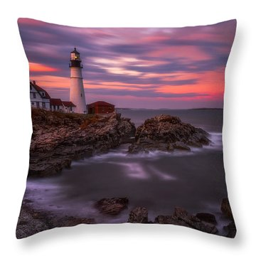 Portland Head Sunset Throw Pillow