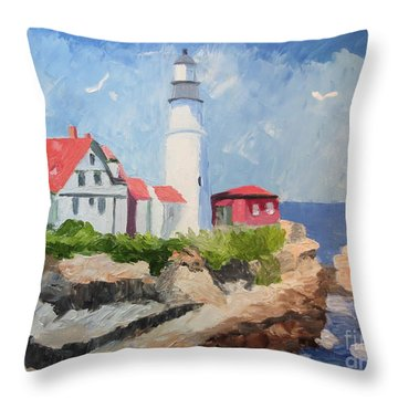 Portland Headlight By The Sea Throw Pillow