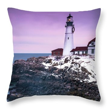 Maine Portland Headlight Lighthouse In Winter Snow Throw Pillow by Ranjay Mitra