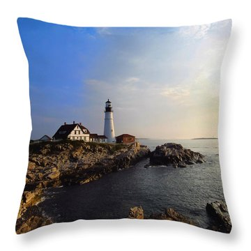 Portland Headlight Morning Glow Throw Pillow