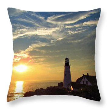 Portland Headlight Sunbeam Throw Pillow