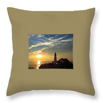 Portland Headlight Sunbeam Throw Pillow