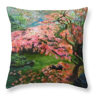 Portland Japanese Maple Throw Pillow by LaVonne Hand