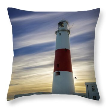 Portland Lighthouse At Sunset Throw Pillow