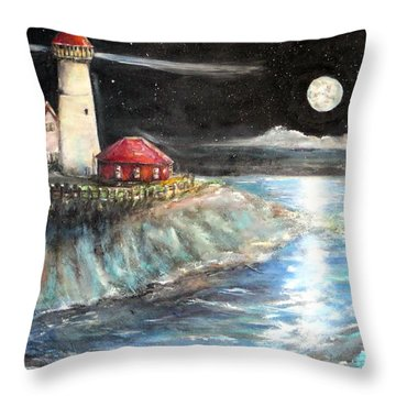 Portland Maine Twilight Throw Pillow