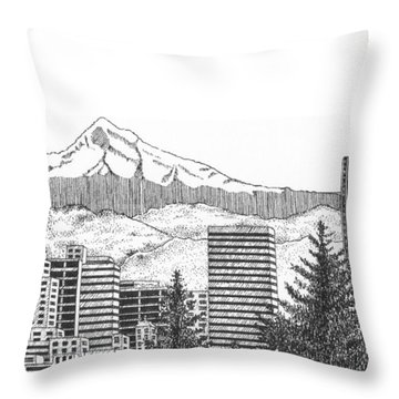 Portland-mt. Hood Throw Pillow