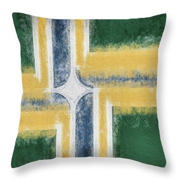 Throw Pillow featuring the digital art Portland Oregon City Flag by JC Findley