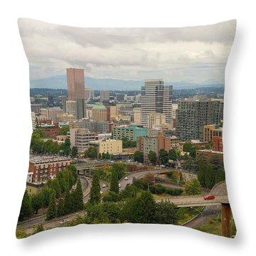 Portland Oregon Downtown Cityscape By Freeway Throw Pillow