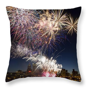 Portland Oregon Fireworks Throw Pillow by David Gn