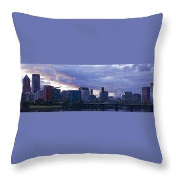 Throw Pillow featuring the photograph Portland Oregon Panorama by Jonathan Davison