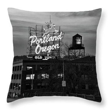 Portland Signs Throw Pillow