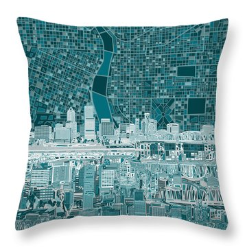 Portland Skyline Abstract 10 Throw Pillow