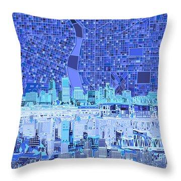 Portland Skyline Abstract 5 Throw Pillow