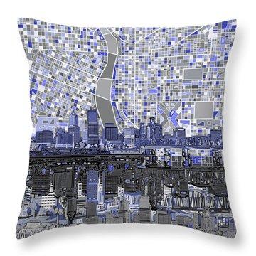 Portland Skyline Abstract Nb Throw Pillow by Bekim Art