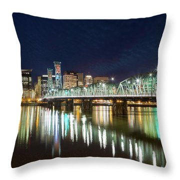Portland Skyline By Hawthorne Bridge At Night Throw Pillow by David Gn