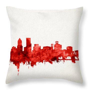 Portland Skyline Watercolor 3 Throw Pillow