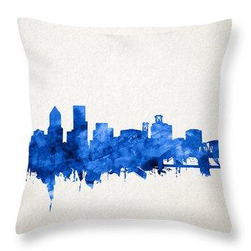 Portland Skyline Watercolor 4 Throw Pillow