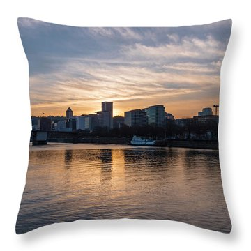 Portland Sunset Throw Pillow