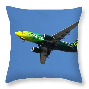 Throw Pillow featuring the photograph Portland Timbers - Alaska Airlines N607as by Aaron Berg