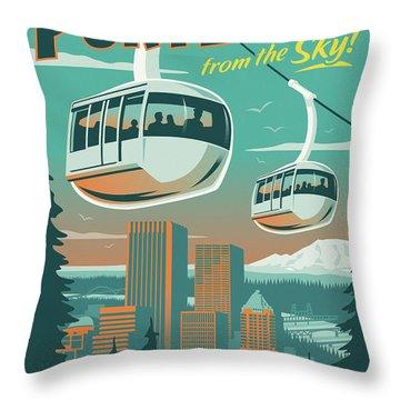 Portland Poster - Tram Retro Travel Throw Pillow