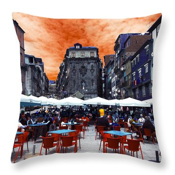 Throw Pillow featuring the photograph Porto Lunch Pop Art by John Rizzuto